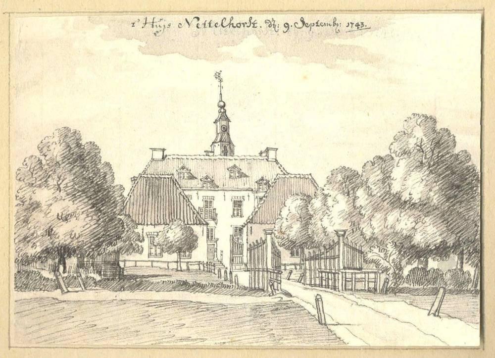 Ru�ne Nettelhorst in Lochem. Tekening Jan de Beijer, 1743